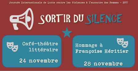affiche des deux soirées : café théa^tre littéraire le 24 et Hommage à Françoise Héritier le 28
