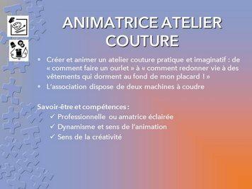fiche animatrice atelier couture
